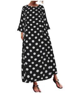 Robe à Pois#robe droite a pois#Robe à Pois Coupe Droite Longue - coccinelle-paradis