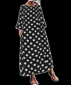 robe longue a pois coupe droite pimpante