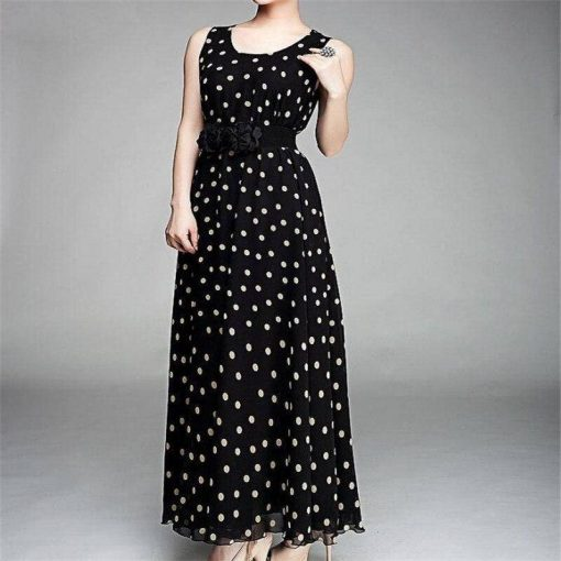 robe longue noire a pois blancs