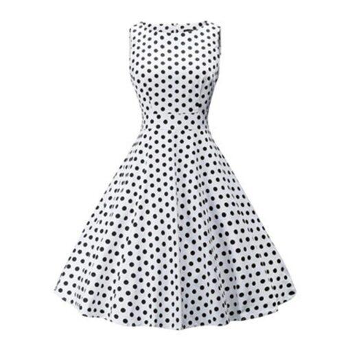 robe a pois annee 50 blanche