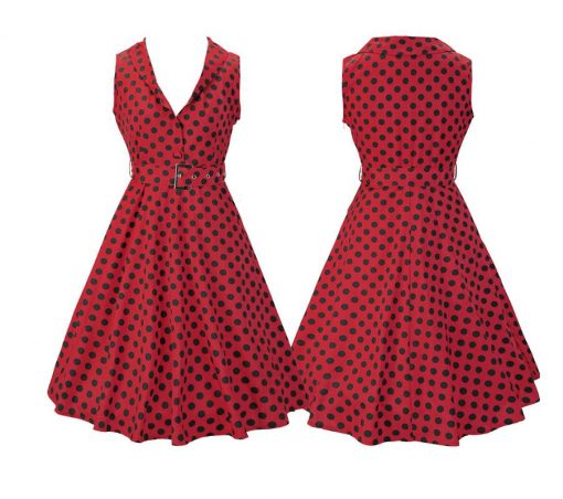 robe rouge pois noir