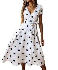 robe à pois année 50 pastorale ceinturé blanche