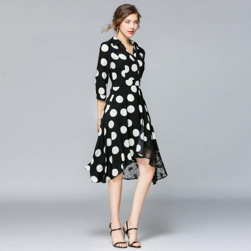 robe longue noire a gros pois blanc