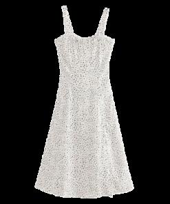 robe blanche fine bretelle a pois courte
