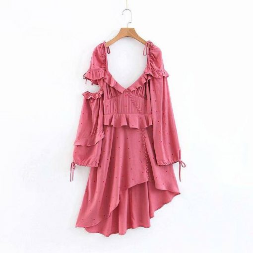 robe asymetrique epaule rouge