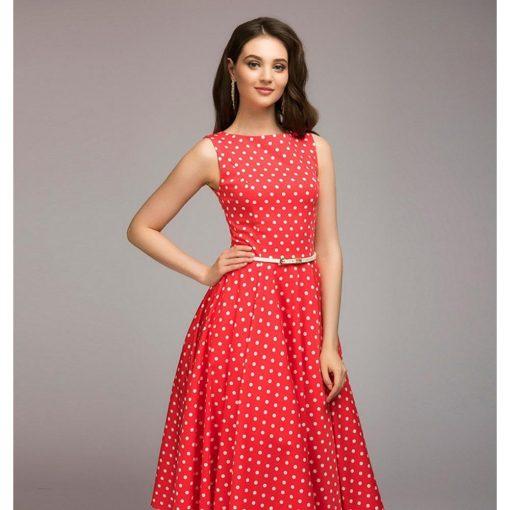 robe à pois année 50 de bain rouge