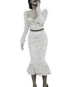 robe moulante a pois noir et blanc