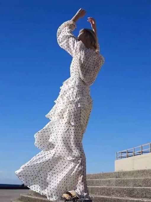 robe longue a pois dore