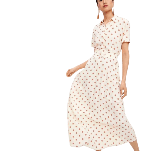 robe a pois rose longue
