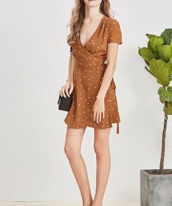 robe marron a pois blanc sezane