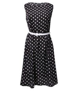 robe etam a pois blanc avec une ceinture noire