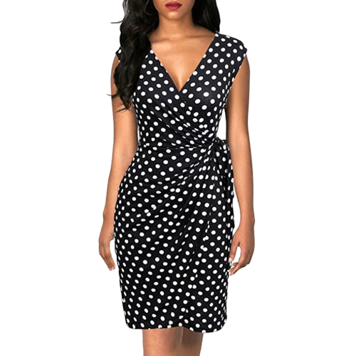robe a pois annee 50 sexy camel