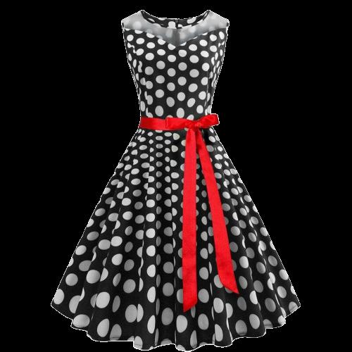 robe noir a pois blanc annee 50