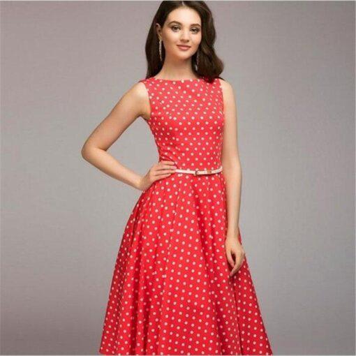 robe sans manche rouge a pois balnc