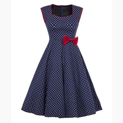 robe bleu a pois blanc vintage