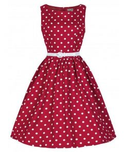 robe a pois annee 50 femmes taille party rouge