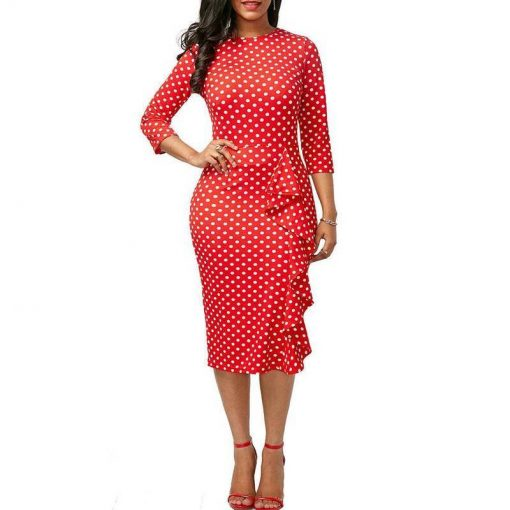 robe moulante fine bretelle rouge a pois