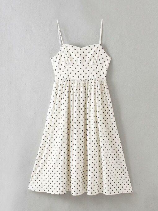 robe longue a pois blanche et noire
