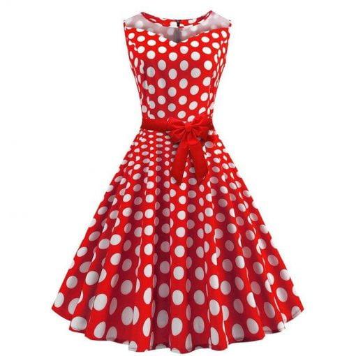 robe a pois annee 50 cache coeur rouge