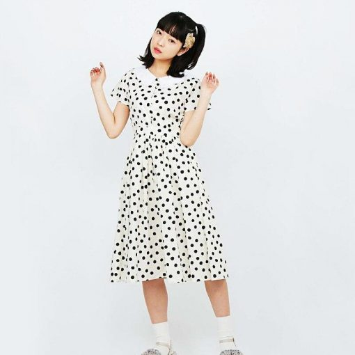 robe a pois col claudine