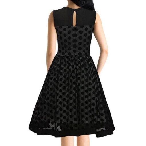 robe a pois annee 50 soiree noire de dos