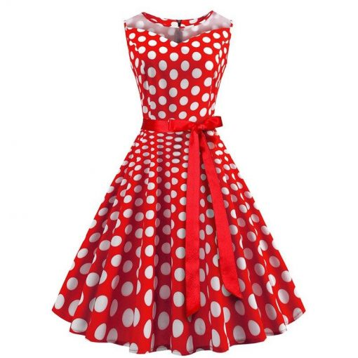 robe a pois annee 50 rouge
