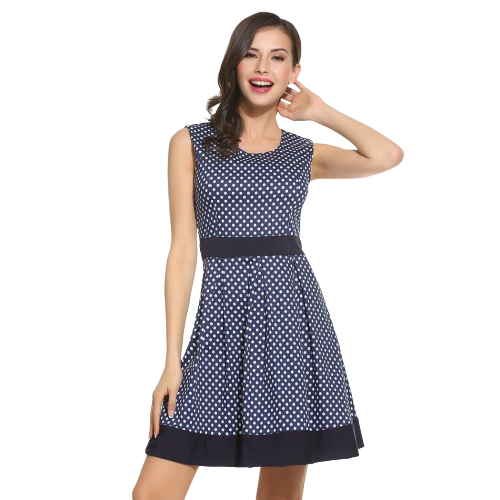 robe simple elegante a pois courte