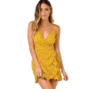 robe a pois courte nuisette jaune lacets