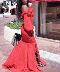 longue robe de soiree rouge