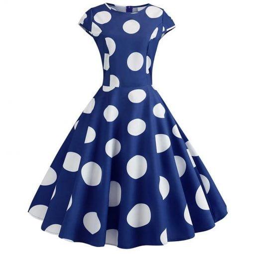robe longue bleu à gros pois