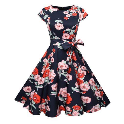 Robes à Pois Courtes##Robe à Pois Courte rétro manches Courtes Fleuri - coccinelle-paradis