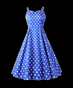robe bleu a pois blanc femme annees 50