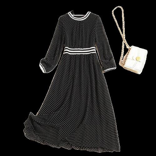 robe fourreau noire mi longue a pois annee 50 bcbg