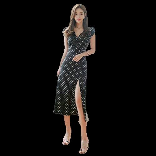 robe korean style soiree a pois