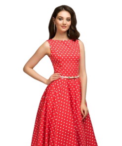 robe longue a pois rouge