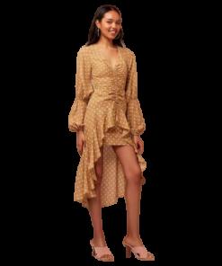 robe longue or a pois blanc