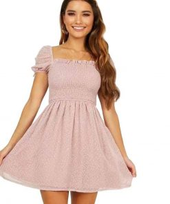 robe mousseline rose