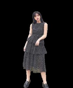 robe longue retro a pois annee 50