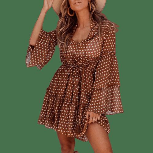 robe courte rouge pois beige