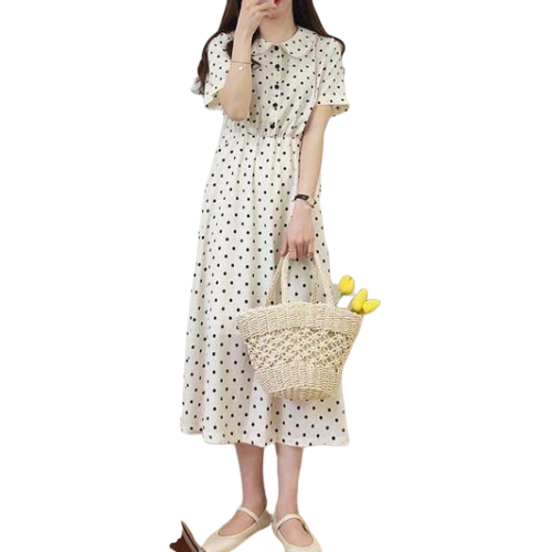 robe longue a pois blanche boutonnee