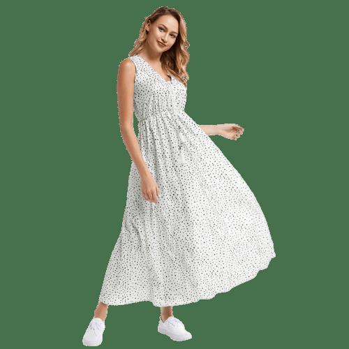 robe blanche a pois longue
