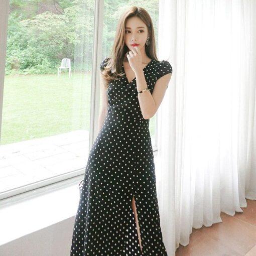 Robe à Pois##Robe à Pois mi-longue coréen-style - coccinelle-paradis