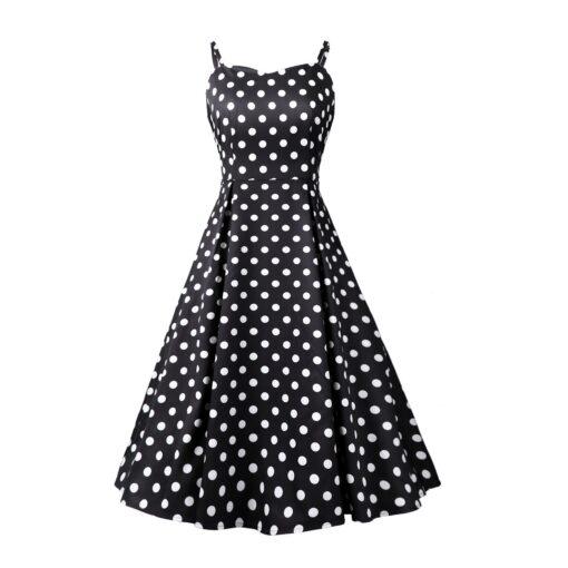 robe bretelle noir a pois