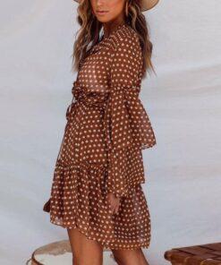robe marron a pois femme