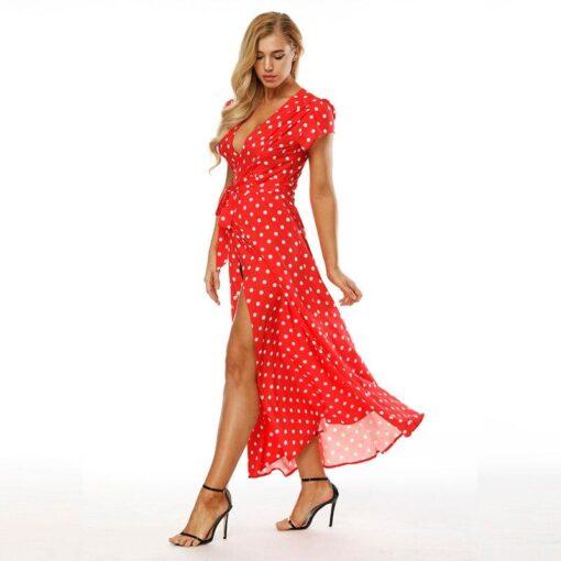 Robe à Pois#robe a pois rouge#Robe à Pois Blanc Longue Rouge Femme - coccinelle-paradis