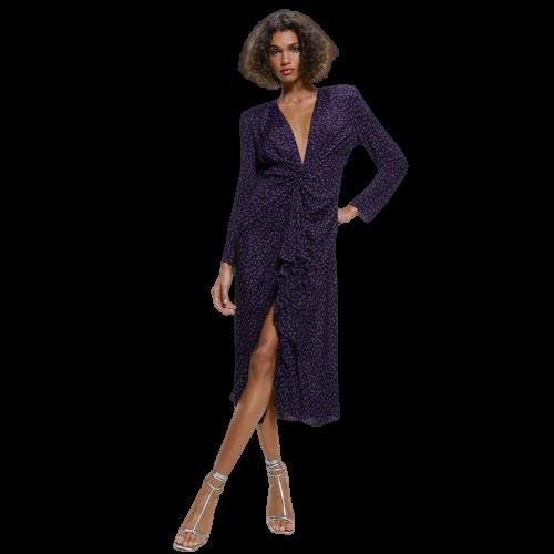 robe longue violet fonce a pois polka dot