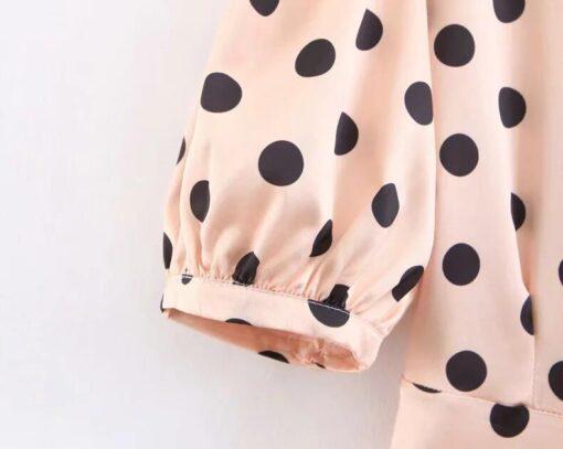 Robe à Pois##Robe à Pois Jacquard Ourlet Femmes - coccinelle-paradis