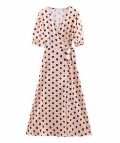 Robe à Pois##Robe à Pois<br> Jacquard Ourlet Femmes - coccinelle-paradis