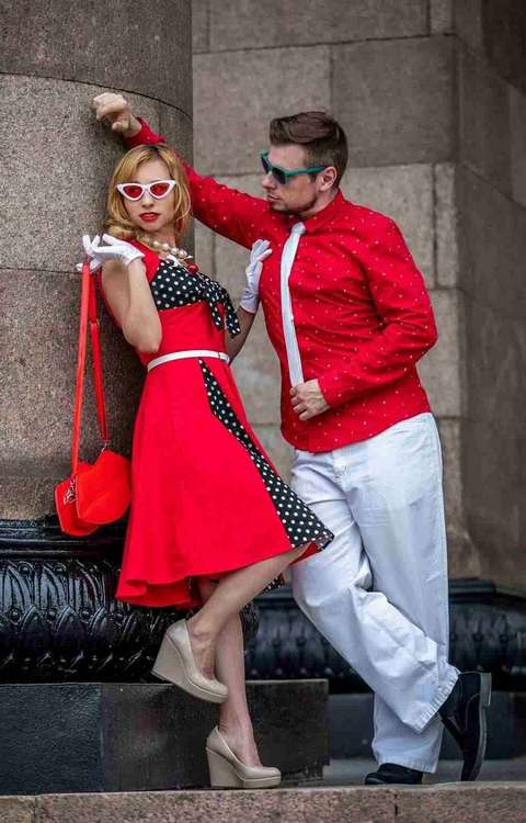 robe a pois longue rouge